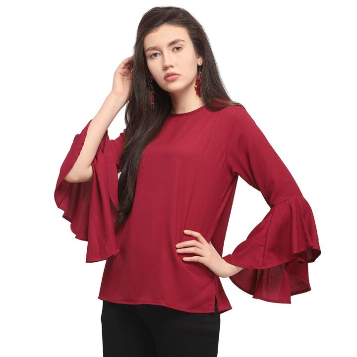 buy Maroon Moss top with Flute Sleeves