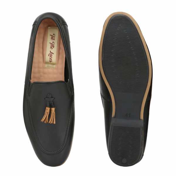 buy Men's Black Leather Casuals Slip On