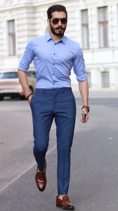 buy Raymond Blue Shirt With Navy Blue Trouser