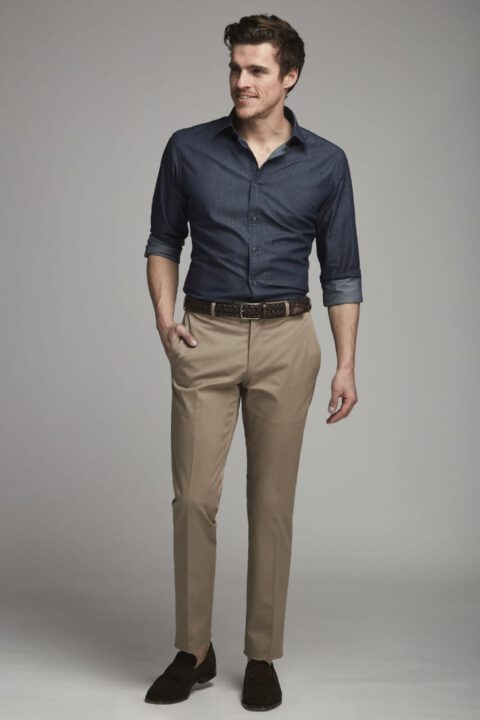 buy Raymond Navy Blue Shirt With Brown Trouser