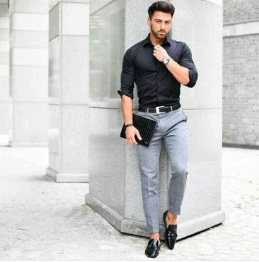 buy Raymond Black Shirt with Grey Trouser
