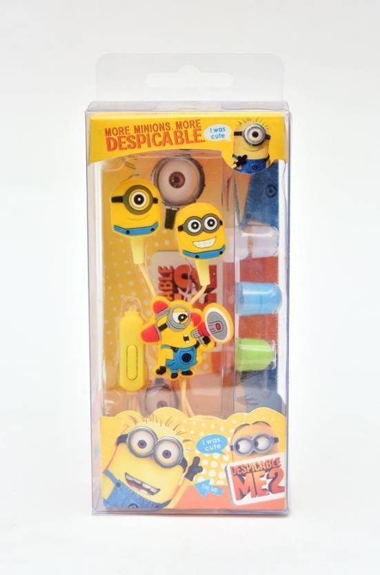 buy Plastic Minions Printed In-Ear Stereo Dynamic Wired Headphones with 3 Additional Earplugs for Android
