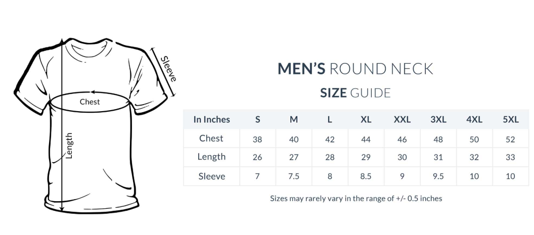 men t-shirt size chart